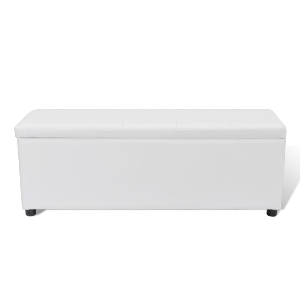 sitzbank sitztruhe aufbewahrungstruhe gepolstert wei mittel 119x38x45cm 240485. Black Bedroom Furniture Sets. Home Design Ideas