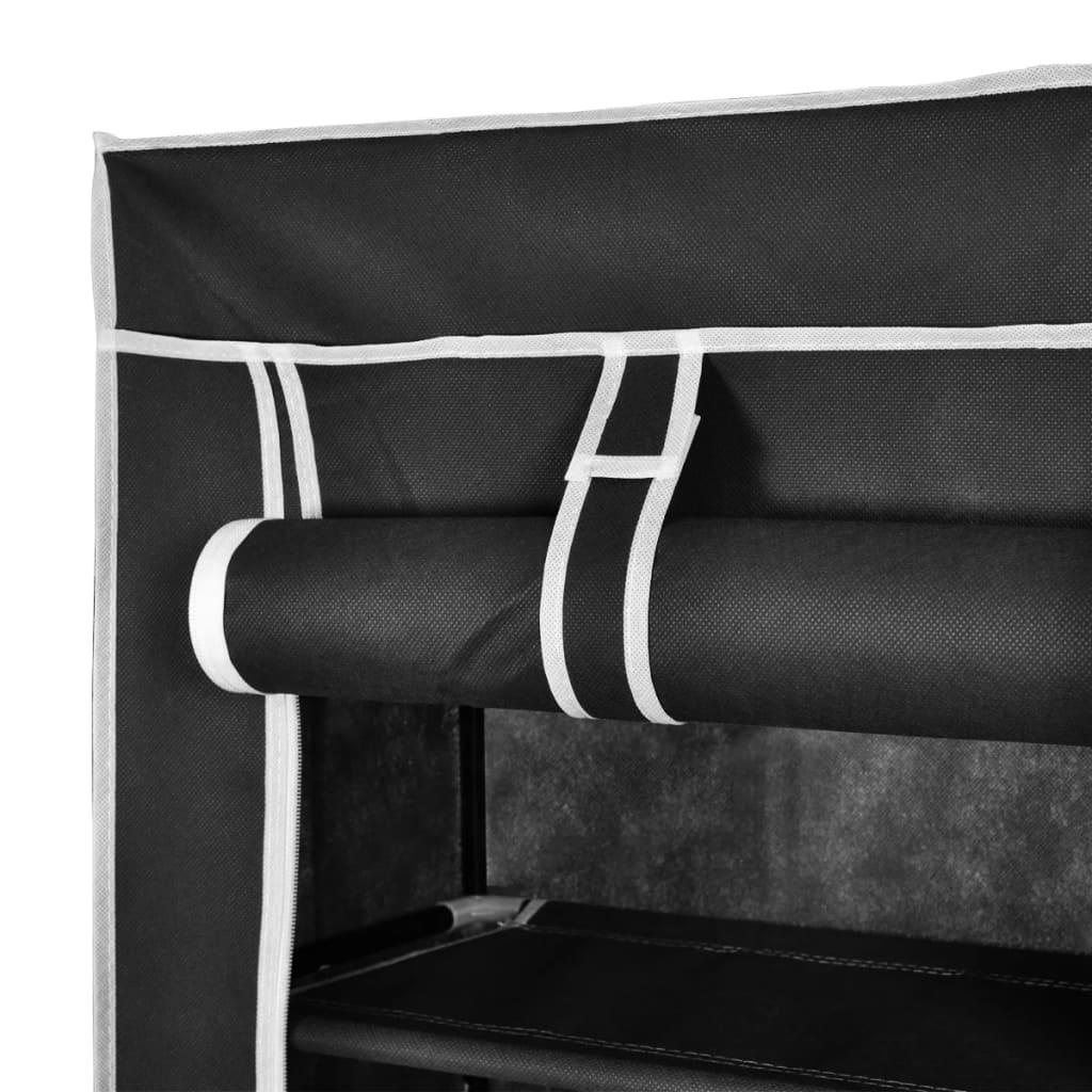 Zapatero de tela con cubierta negro 162 x 57 x 29 cm for Zapatero de tela barato