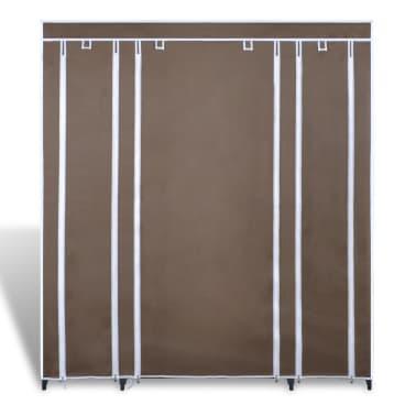 Látková šatní skříň s přihrádkami a tyčemi 45 x 150 x176 cm hnědá[2/7]