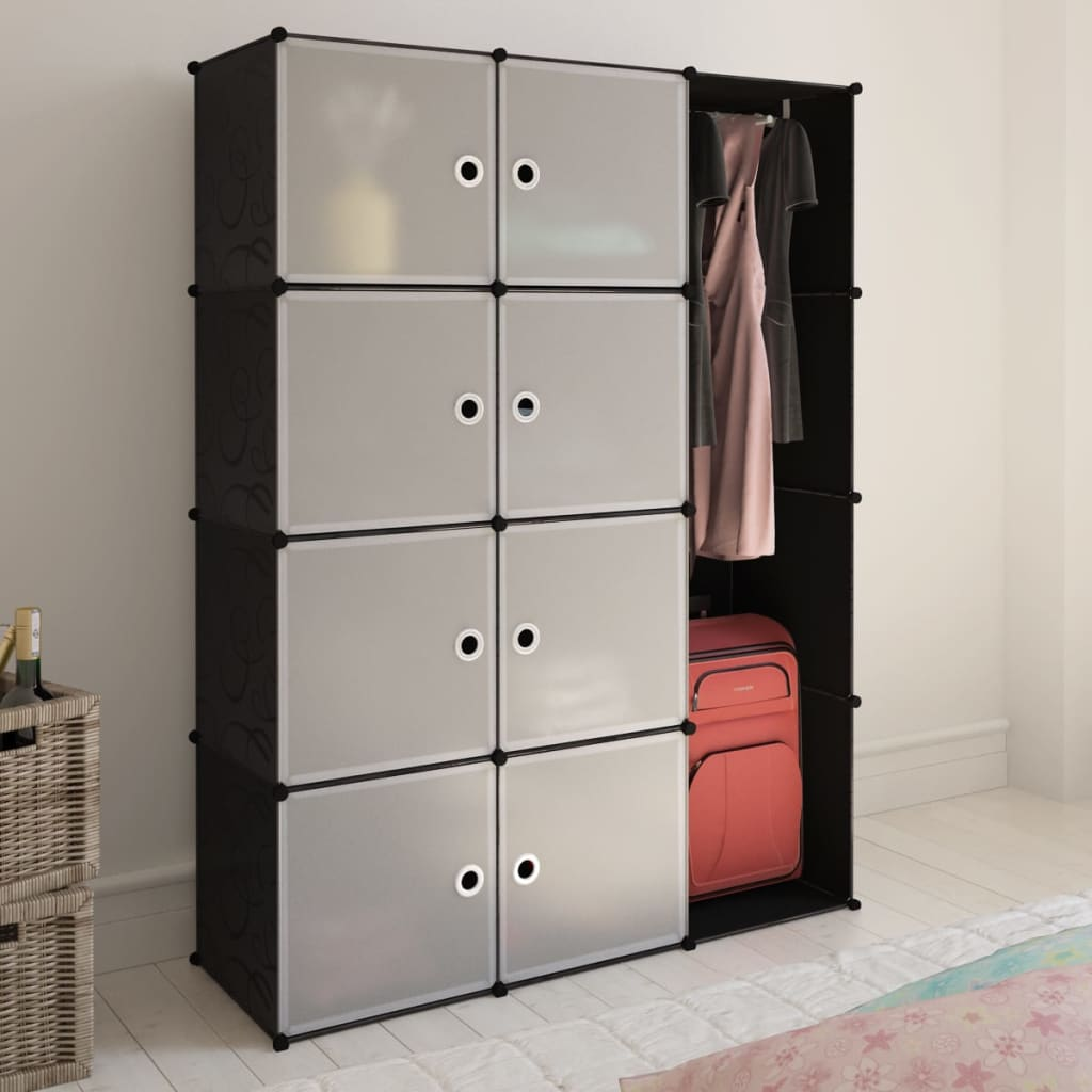 Modular Cabinet With 9 Compartments Black And White 37 X