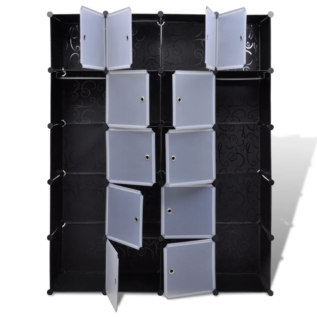 Aparador De Livros Diy ~ vidaXL Armário plástico modular 14 gavetas 37x146x180,5cm preto branco www vidaxl pt