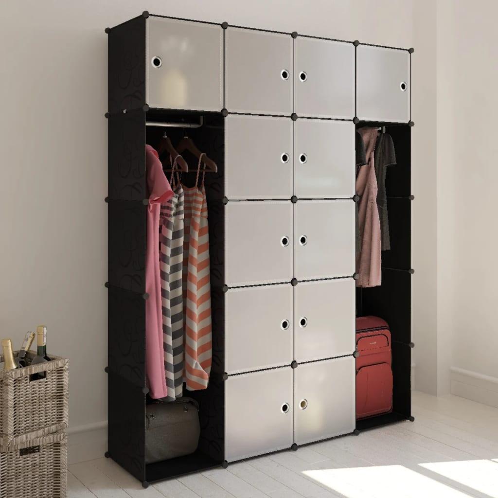 vidaXL moduláris szekrény 14 tárolórekesszel fekete és fehér 37 x 146 180,5 cm