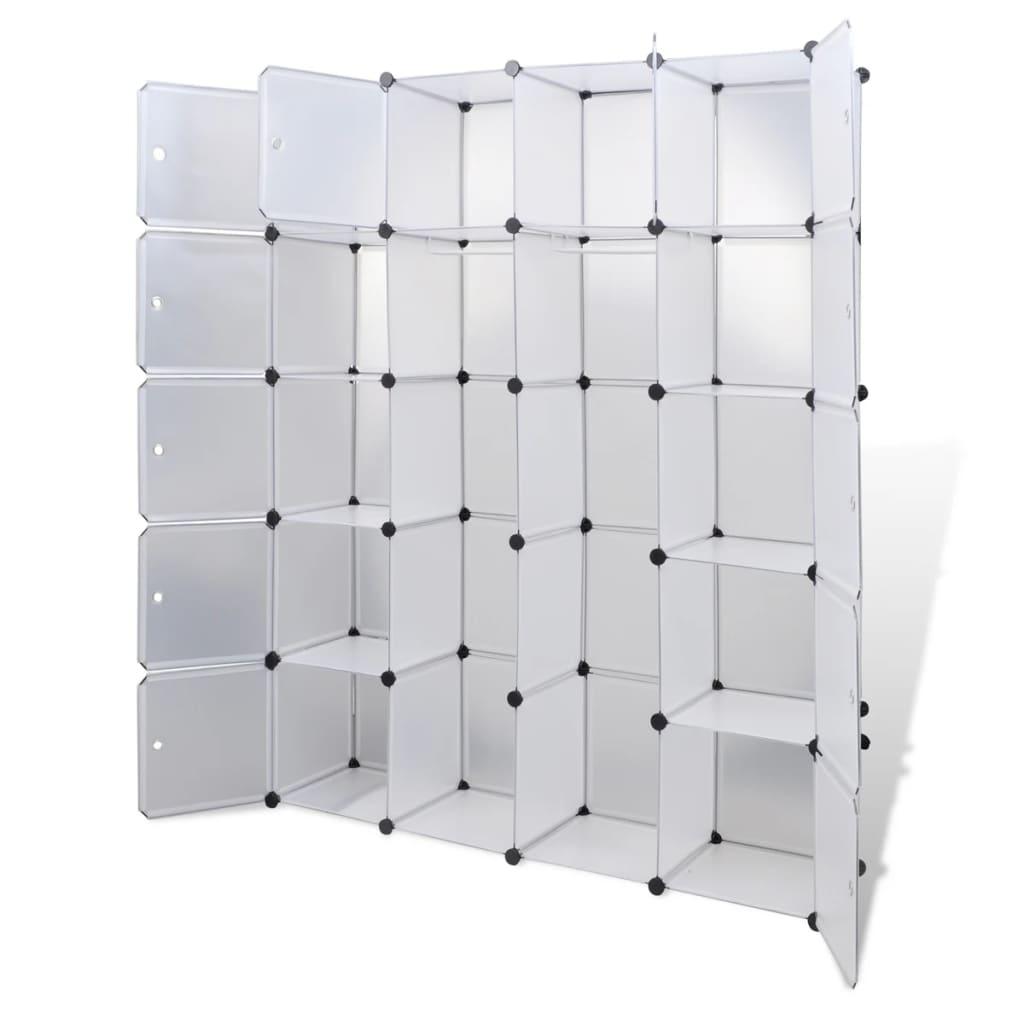 Aparador De Livros Diy ~ vidaXL Armário plástico modular 14 gavetas 37x146x180,5cm branco www vidaxl pt