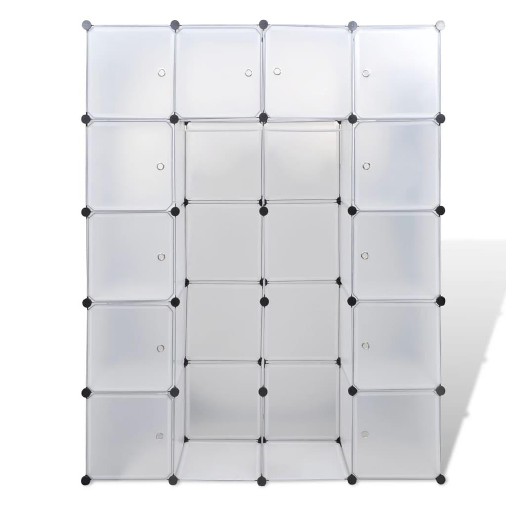vidaXL Armário plástico modular 14 gavetas 37x146x180,5cm branco www vidaxl pt