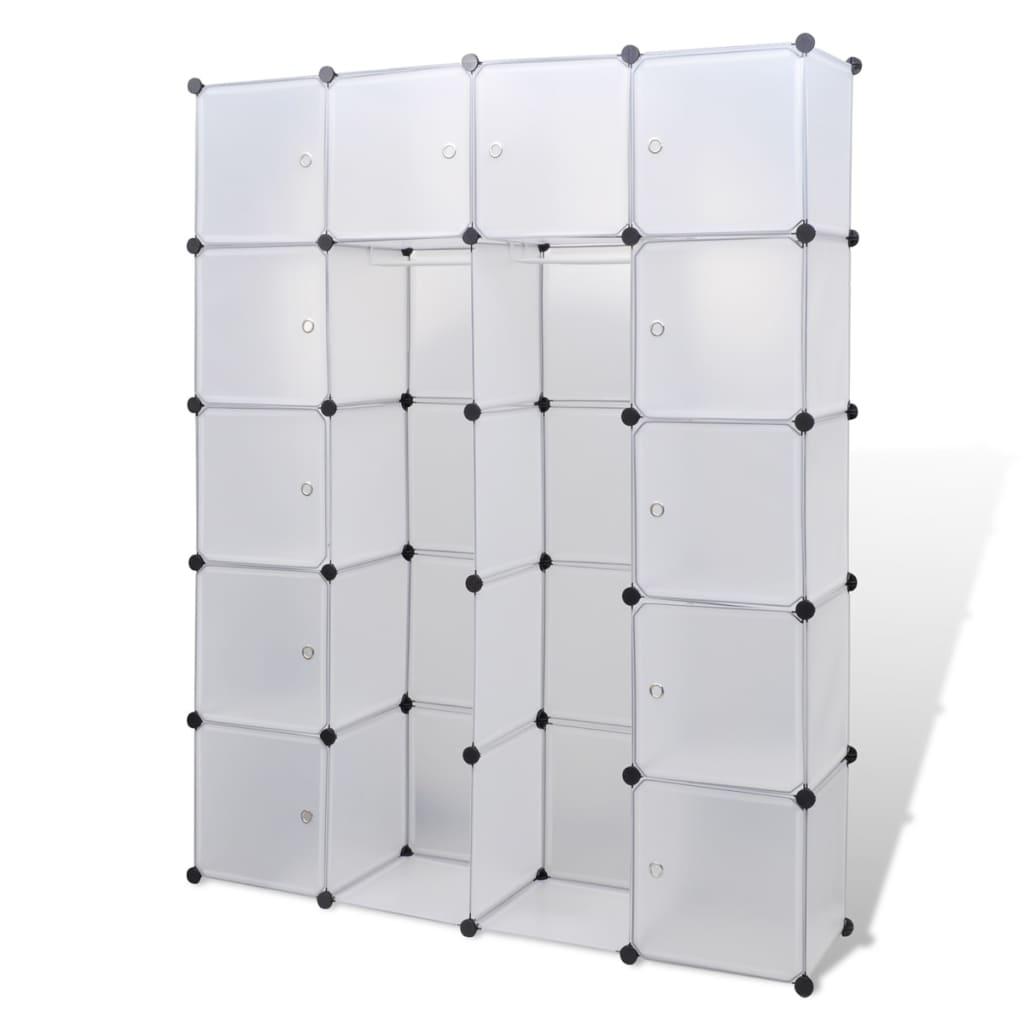 vidaxl modularer schrank mit 14 f chern wei 37 x 146 x 180 5 cm. Black Bedroom Furniture Sets. Home Design Ideas