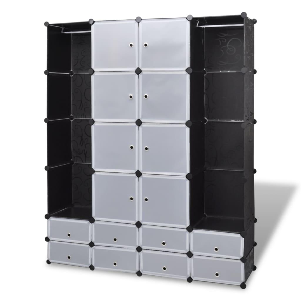 vidaXL Szafa modułowa, 18 przegród, czarno-biała, 37 x 146 180,5 cm