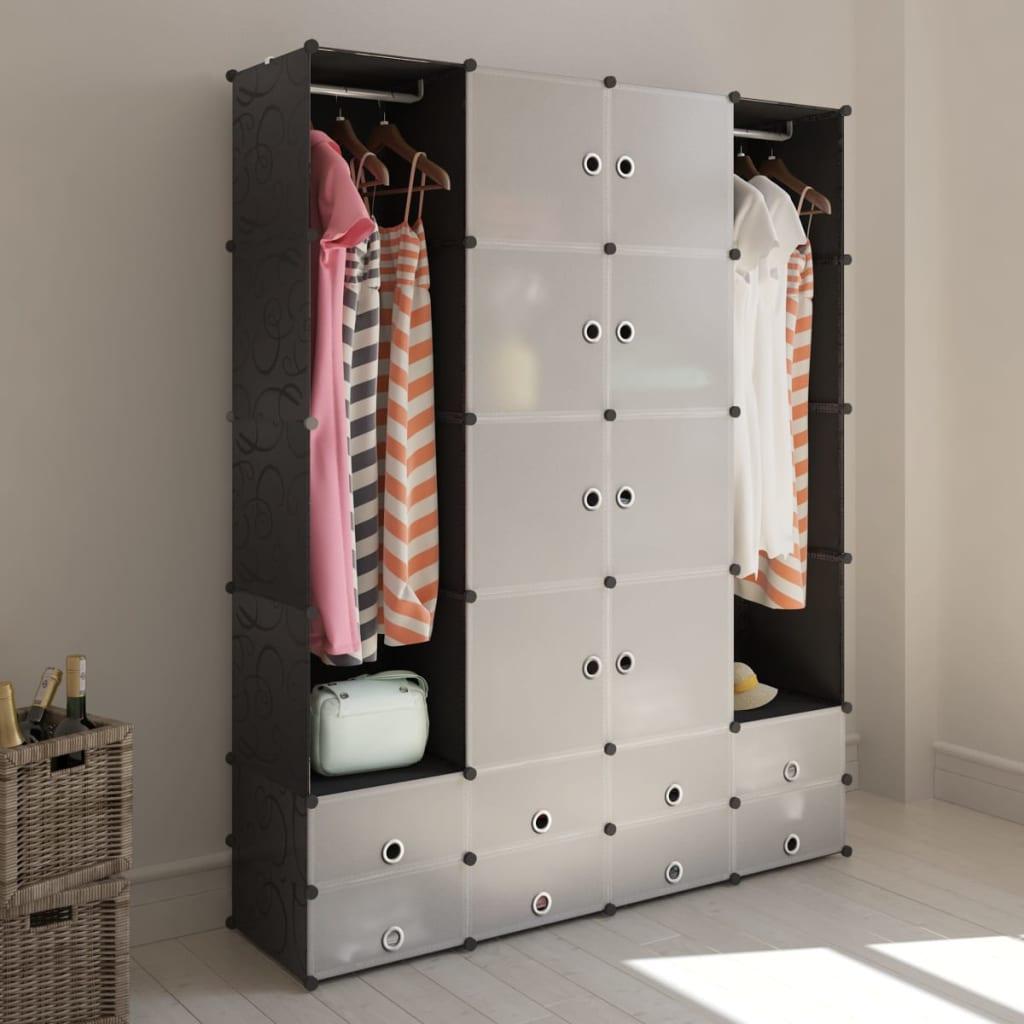 vidaXL moduláris szekrény 18 tárolórekesszel fekete és fehér 37 x 146 180,5 cm