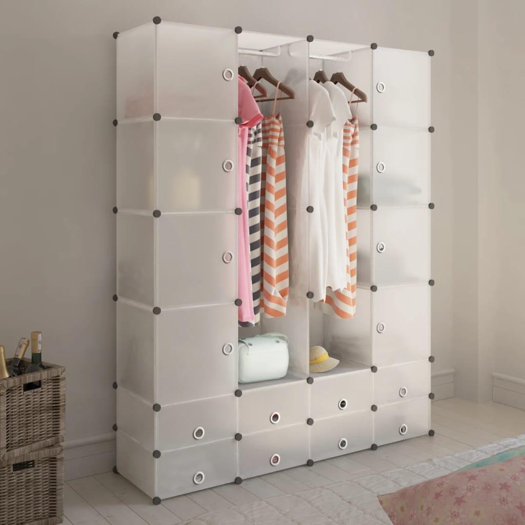 vidaXL moduláris szekrény 18 tárolórekesszel fehér 37 x 146 180,5 cm