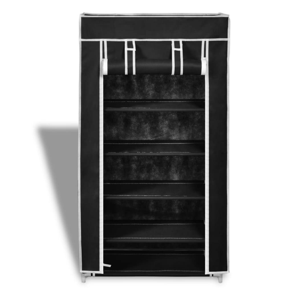 scarpiera portascarpe in tessuto richiudibile 58 x 28 x 106 cm nero. Black Bedroom Furniture Sets. Home Design Ideas