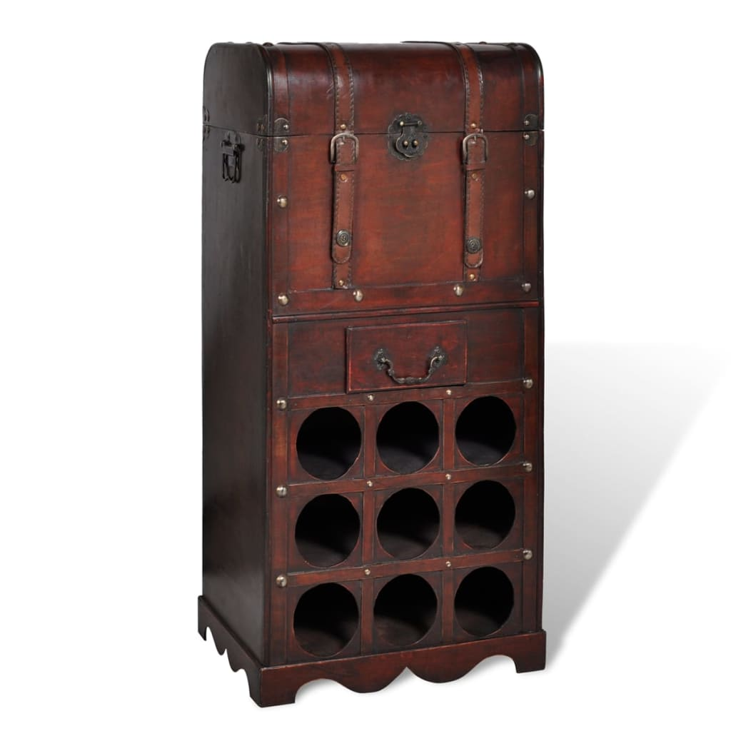 ''vidaXL Wooden Wine Rack for 9 bottles Storage Trunk with Drawer''