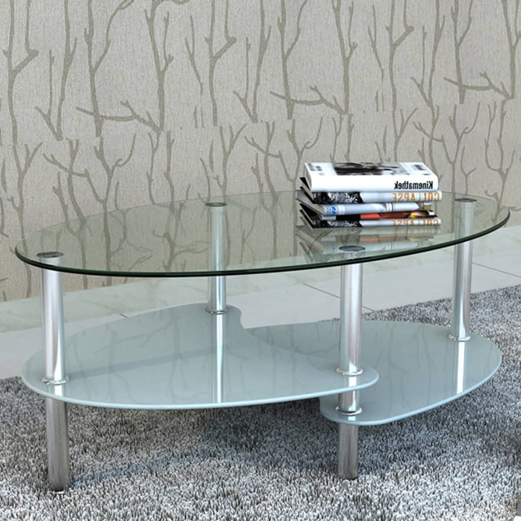 vidaXL Metal Frame Glass Tabletop Coffee Side Table Living Room ...