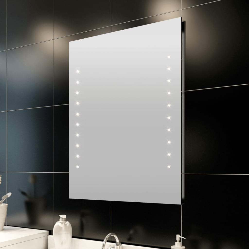 vidaXL Fürdőszoba tükör LED fényekkel Fali 60 x 80 cm (H M)
