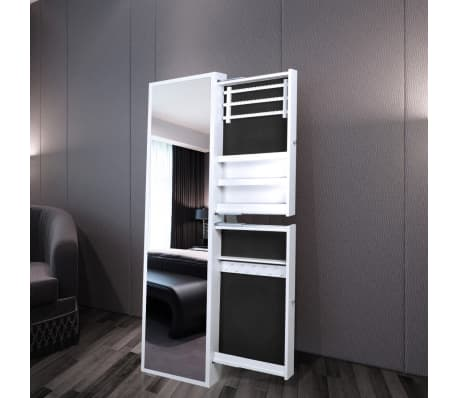 Jewelry mirror with two side drawers white for Miroir range bijoux casa