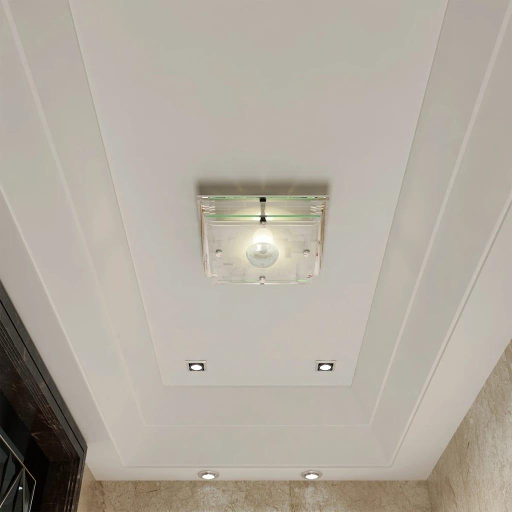 Lampada da soffitto quadrata in vetro 1 x E27 Cristallo☺