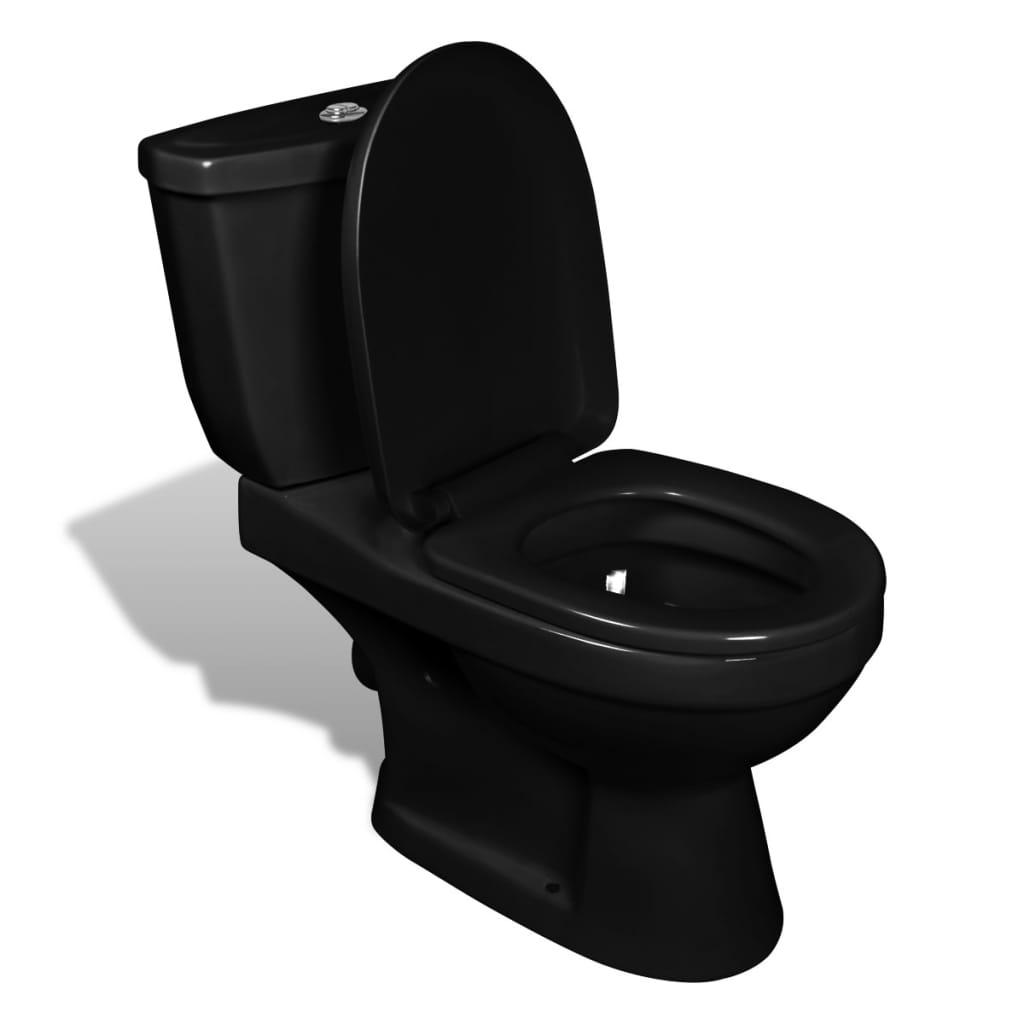 design stand toilette wc bodenstehend keramik sitz inkl sp lkasten wei schwarz ebay. Black Bedroom Furniture Sets. Home Design Ideas