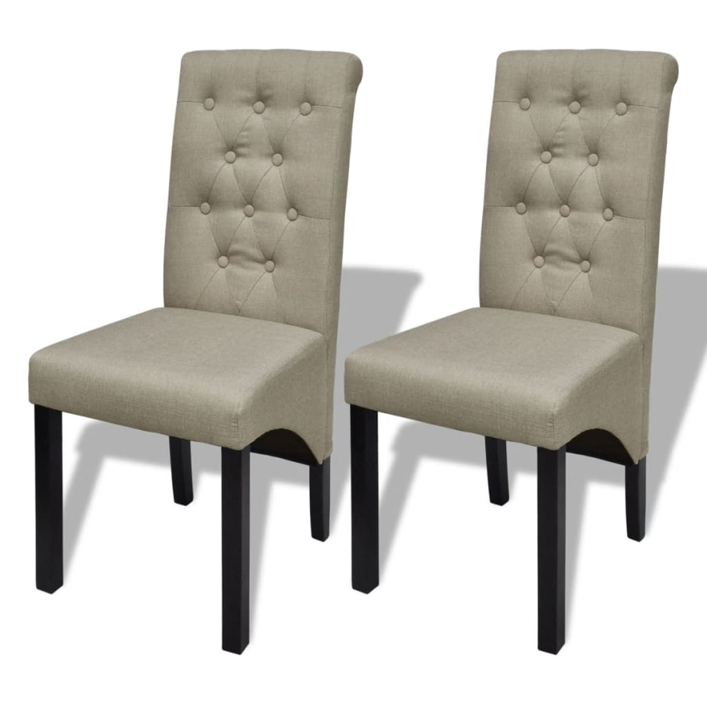 set of 2 antique dining chairs beige