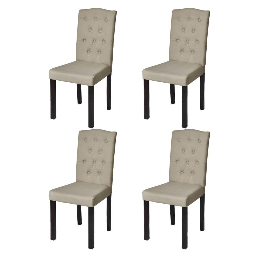 Conjunto de 4 cadeiras para jantar Bege www.vidaxl.pt #59503F 1024x1024