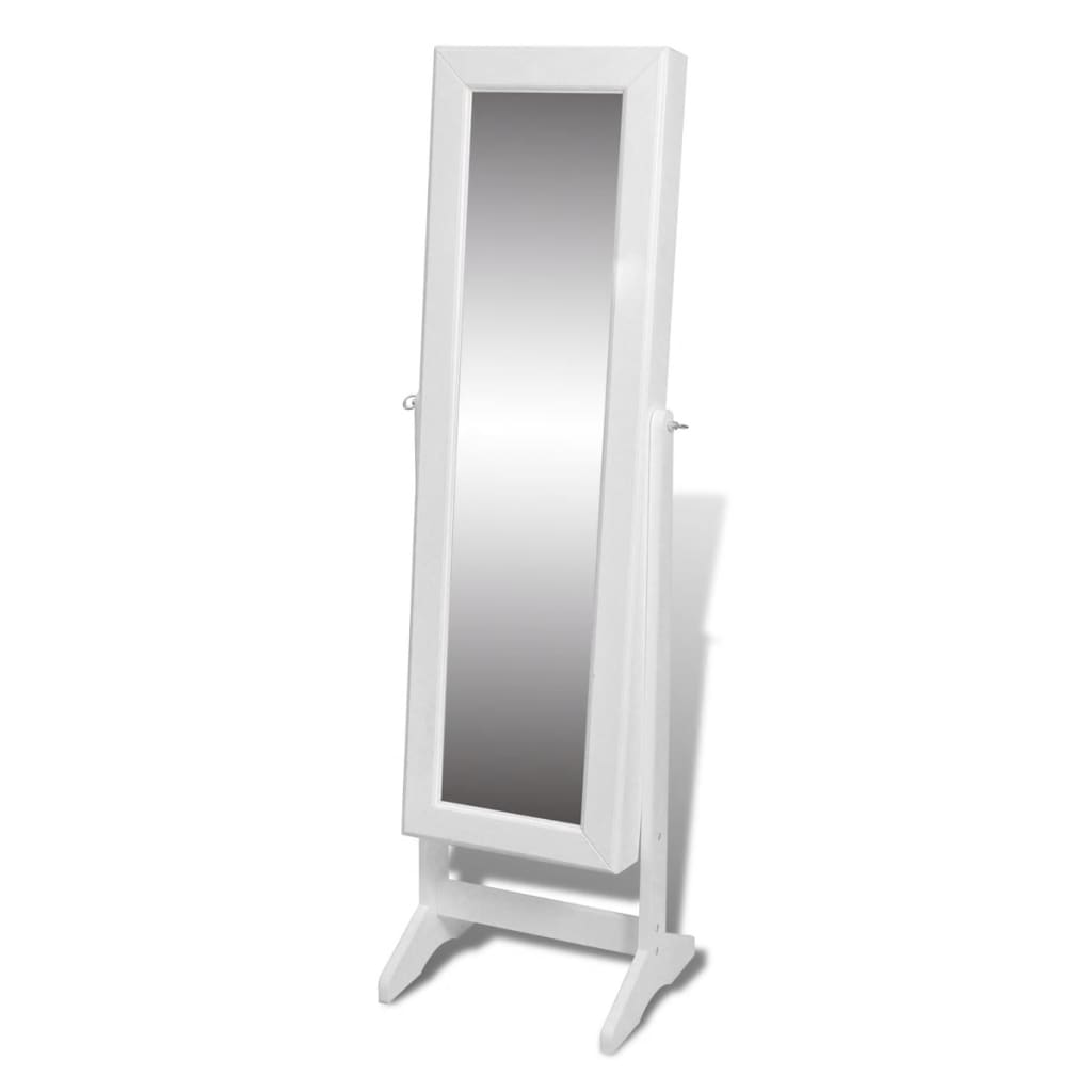 Free standing mirror jewellery cabinet wardrobe white for Free standing