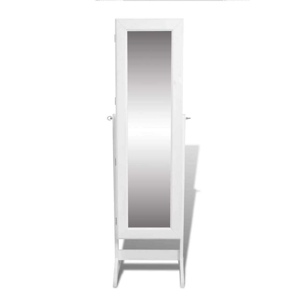 Free standing mirror jewellery cabinet wardrobe white for Mirror jewellery cabinet