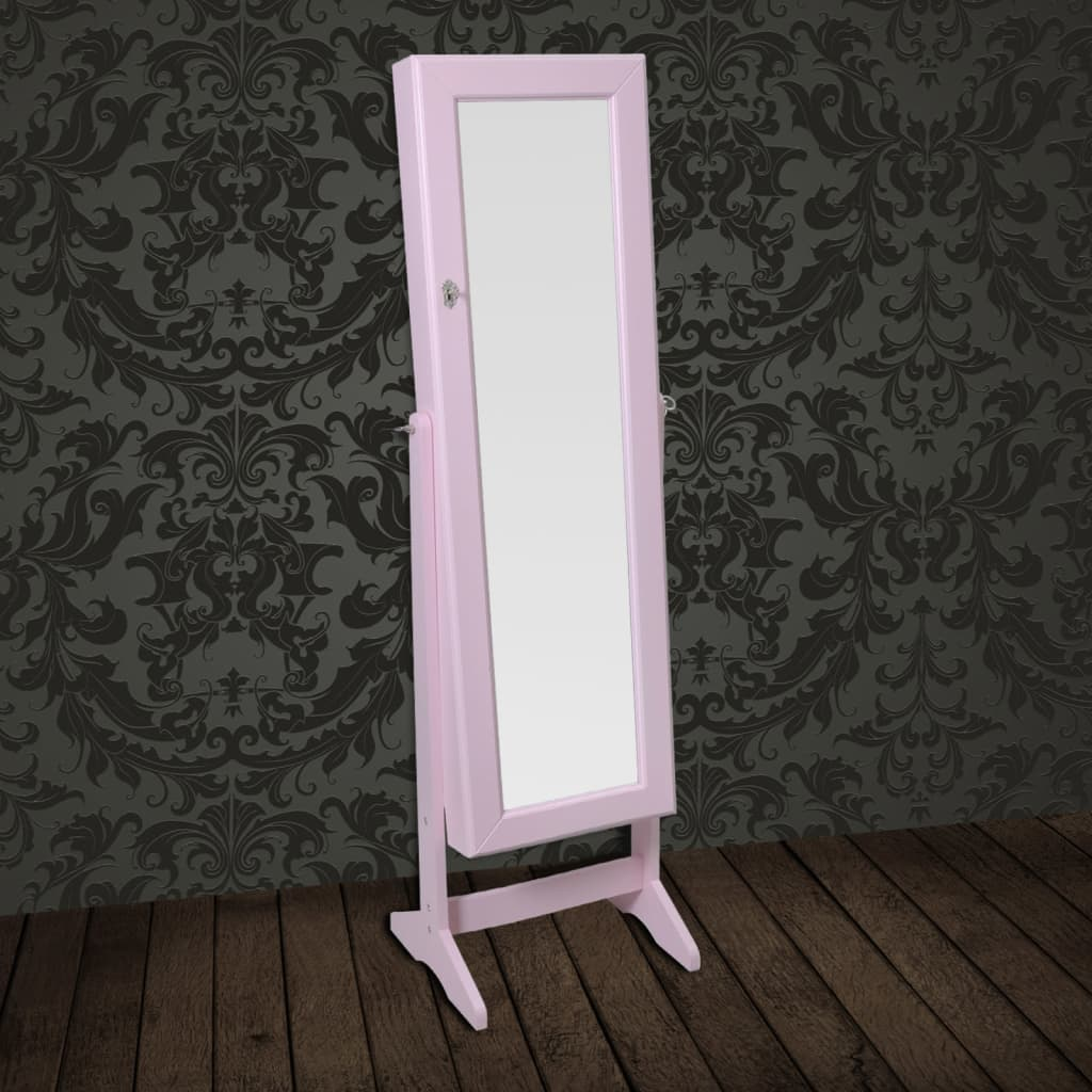 new free standing mirror jewellery cabinet wardrobe white pink black selectable ebay. Black Bedroom Furniture Sets. Home Design Ideas