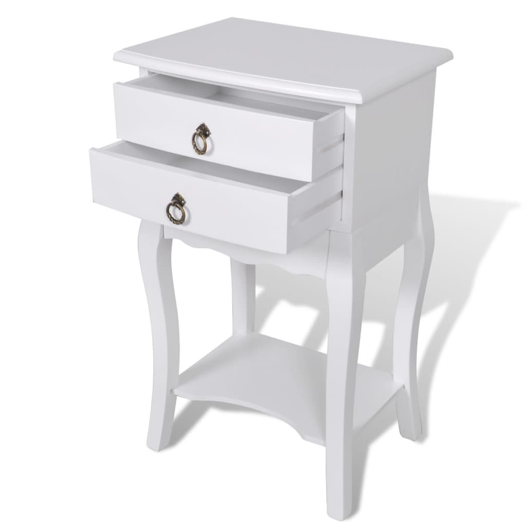 vidaXL-Nightstand-with-2-Drawers-White-Bedroom-Bedside-Table-Telephone-Stand