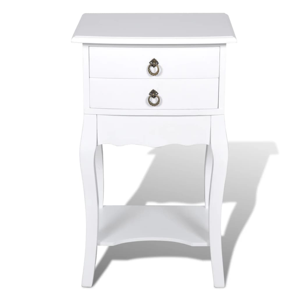 la boutique en ligne table de chevet 2 tiroirs en blanche. Black Bedroom Furniture Sets. Home Design Ideas