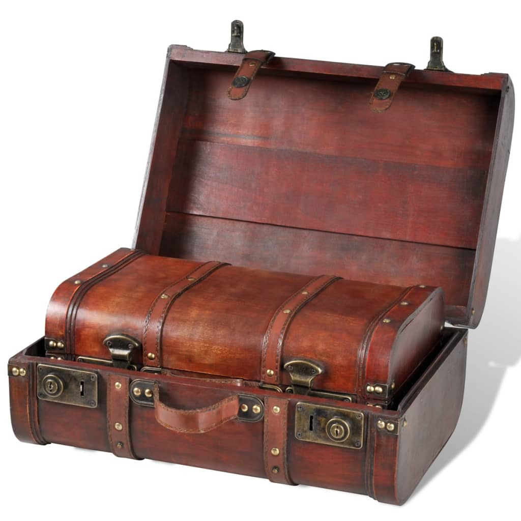 vintage wooden treasure chest brown 2 pcs. Black Bedroom Furniture Sets. Home Design Ideas