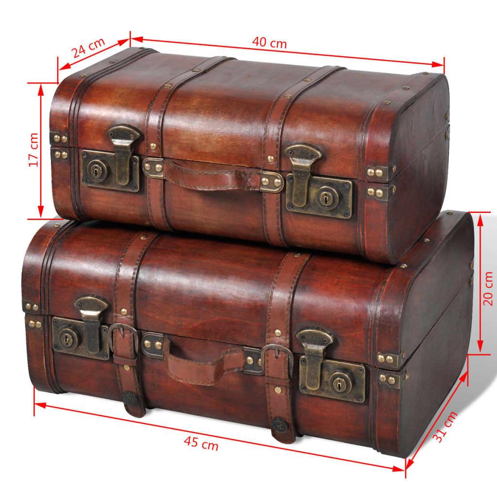 cofre del tesoro vintage de madera marr n 2 piezas tienda online. Black Bedroom Furniture Sets. Home Design Ideas
