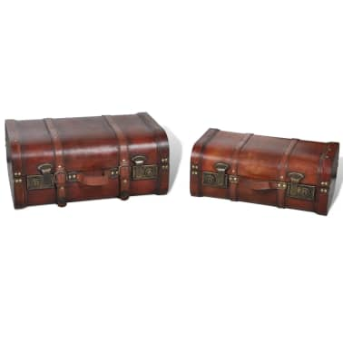 Vintage Wooden Treasure Chest Brown 2 PCS[4/7]