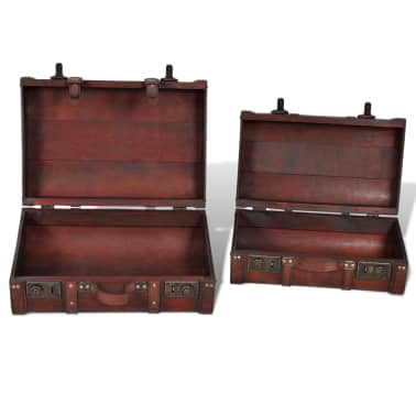 Vintage Wooden Treasure Chest Brown 2 PCS[5/7]