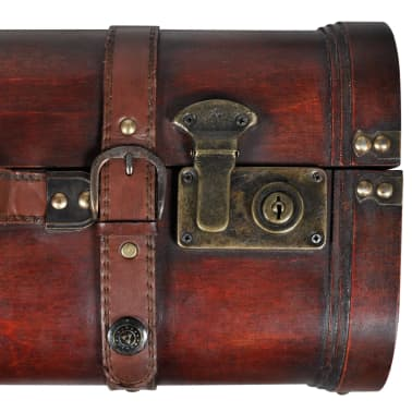 Vintage Wooden Treasure Chest Brown 2 PCS[6/7]