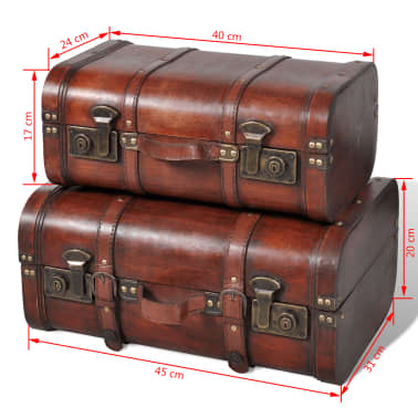 Vintage Wooden Treasure Chest Brown 2 PCS[7/7]