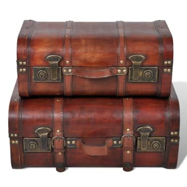 Vintage Wooden Treasure Chest Brown 2 PCS[2/7]