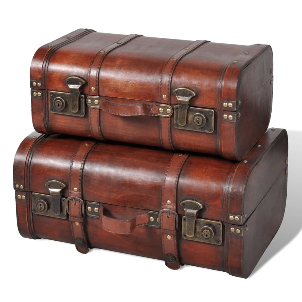 Vintage wooden treasure chest brown 2 pcs - Malle en cuir vintage ...