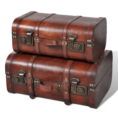 Vintage Wooden Treasure Chest Brown 2 PCS[1/7]