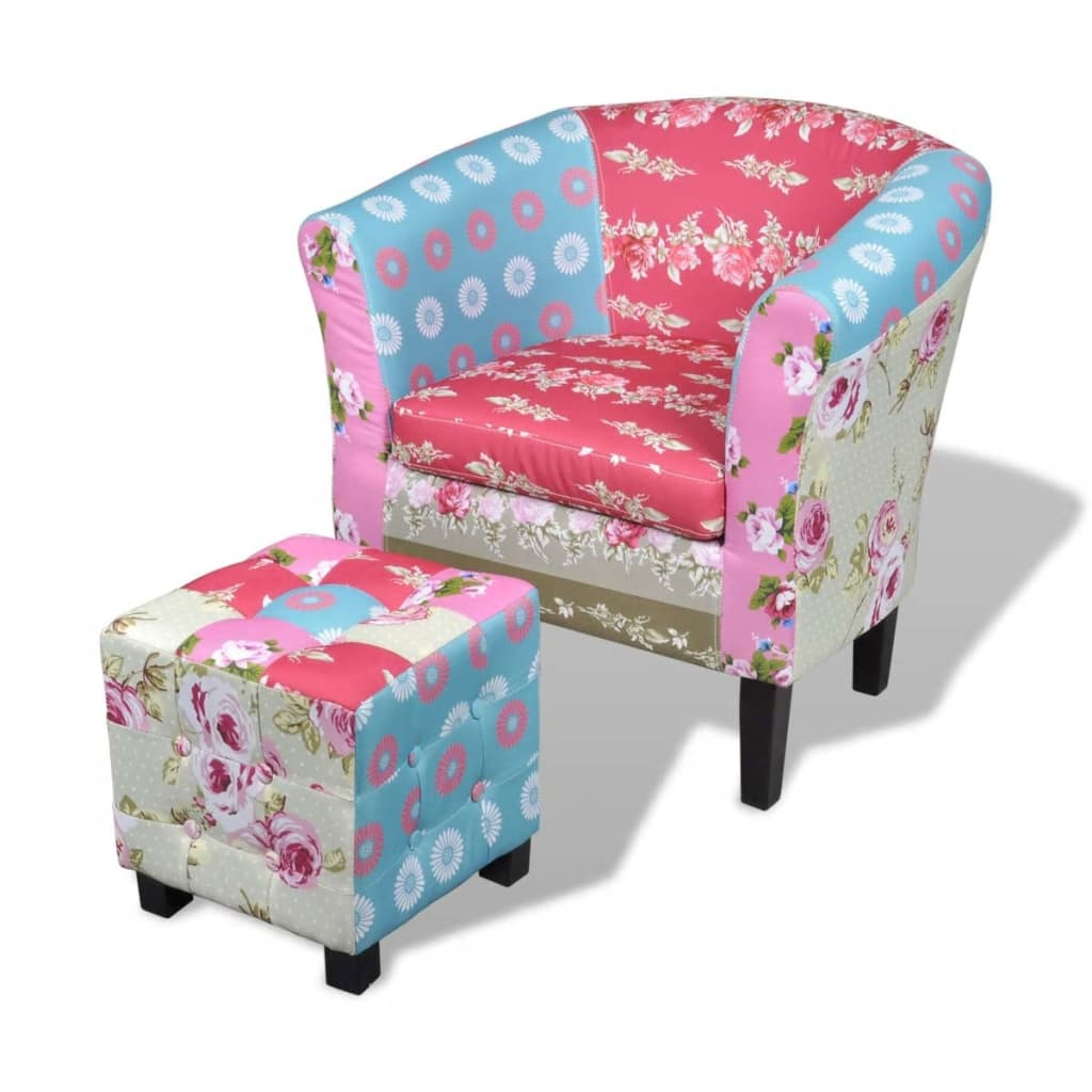 la boutique en ligne fauteuil design flora patchwork multi couleur avec le tabouret. Black Bedroom Furniture Sets. Home Design Ideas