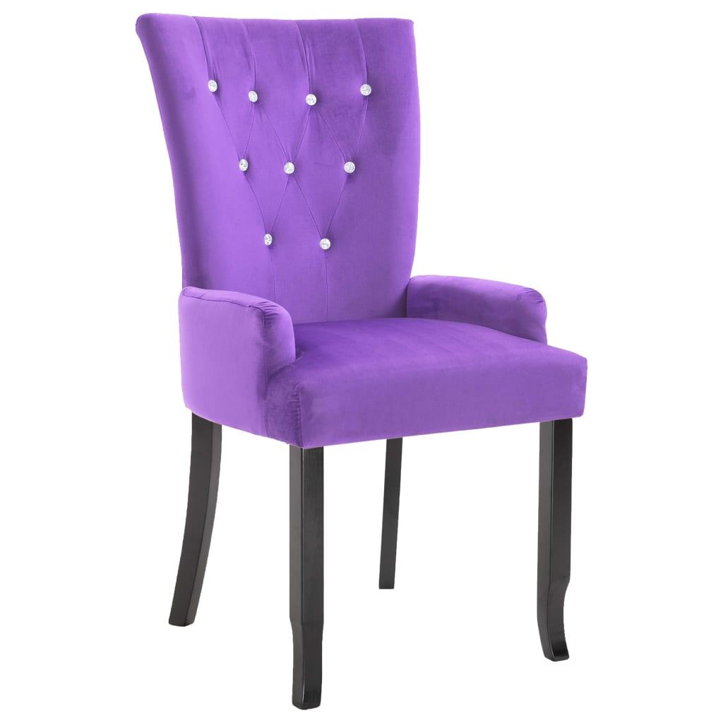 Armchair Dining Chair Black Wood Velvet Coated Purple