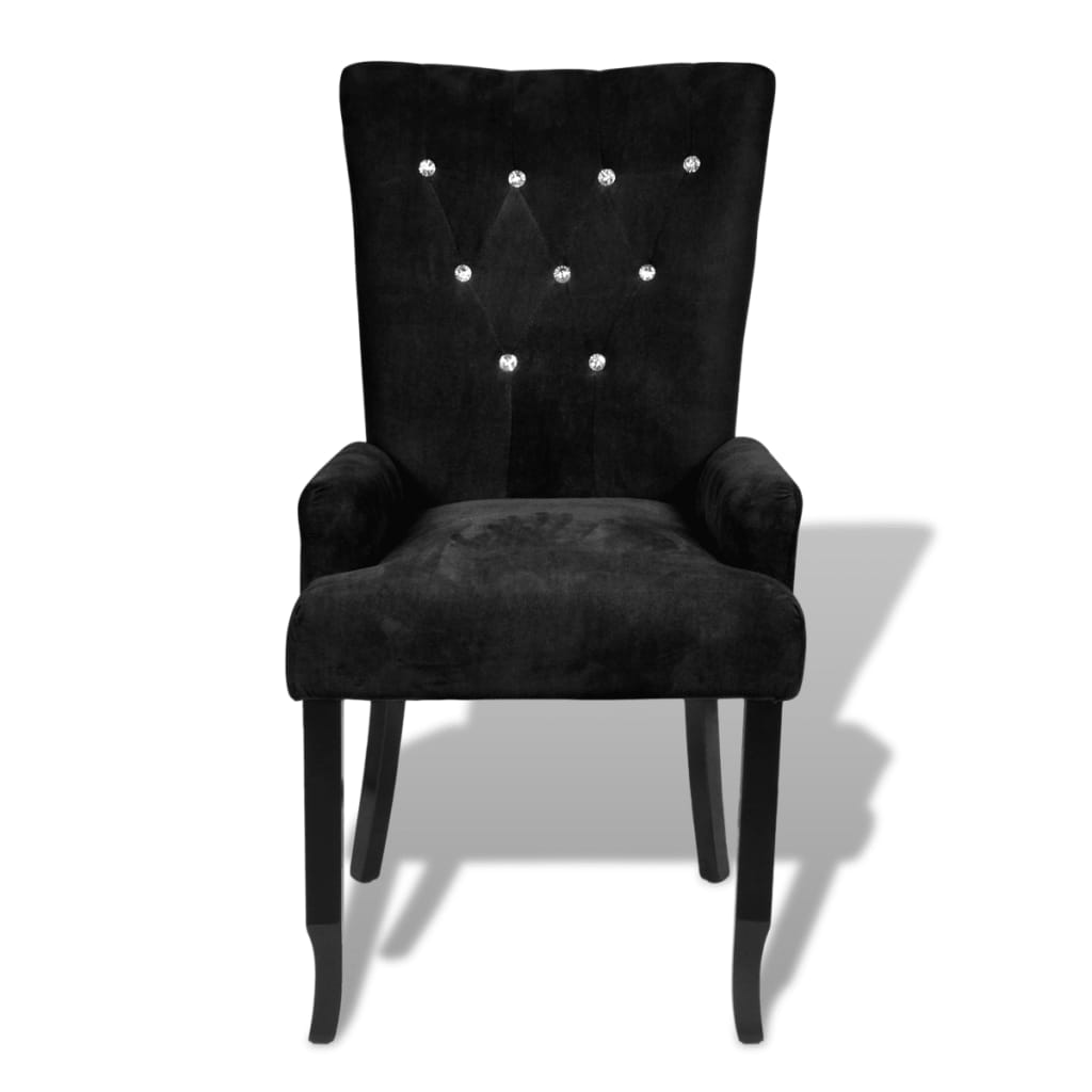 Armchair Dining Chair Black Wood Velvet Coated Black Www