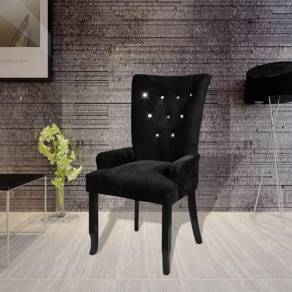 Vidaxl sill n de comedor madera negra y terciopelo negro for Sillon comedor