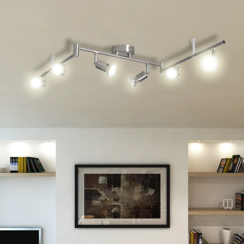 La boutique en ligne plafonnier 6 spots halog nes nickel for Spot design plafond