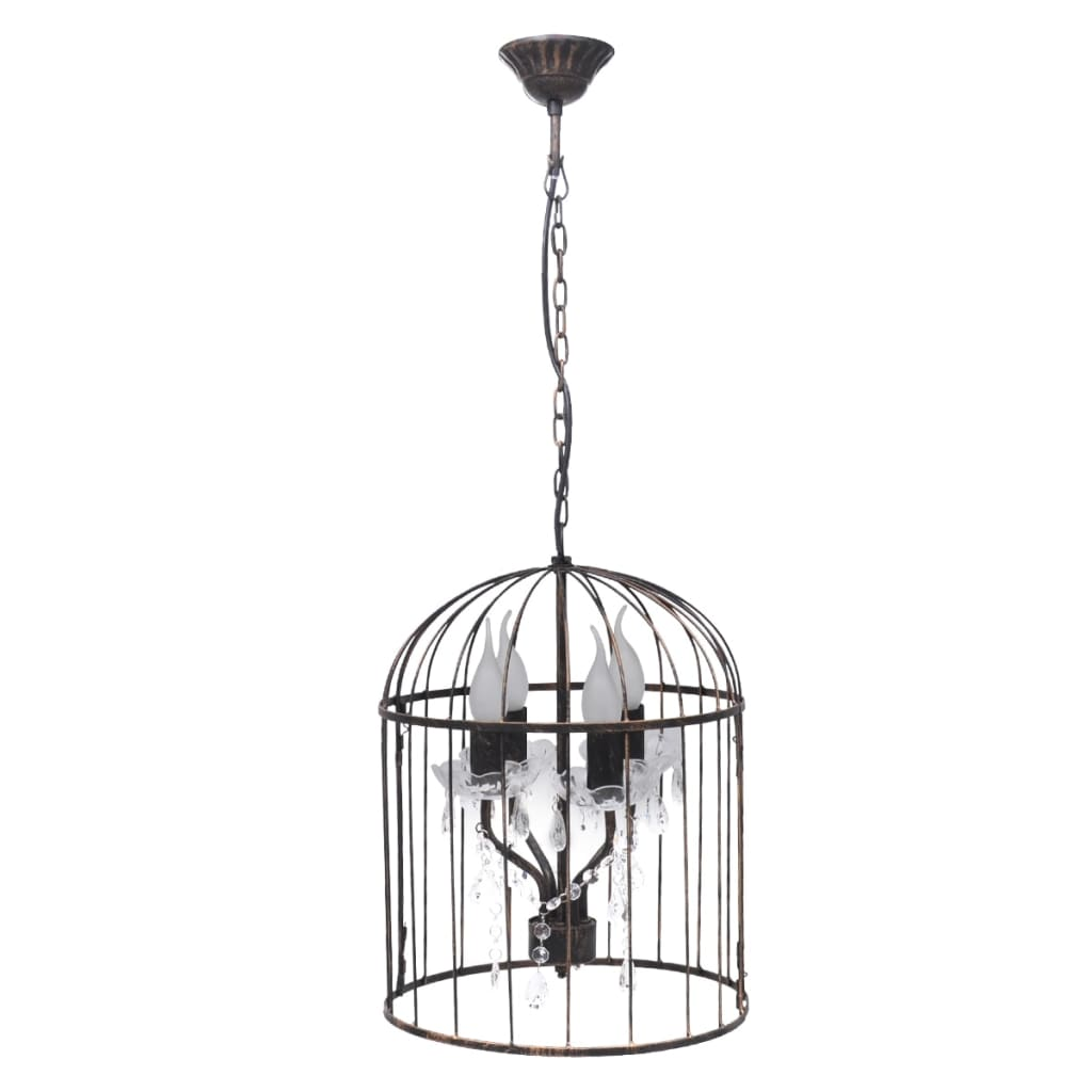 lampe suspendue en forme de cage oiseau lampe de d coration plafonnier lustre ebay. Black Bedroom Furniture Sets. Home Design Ideas