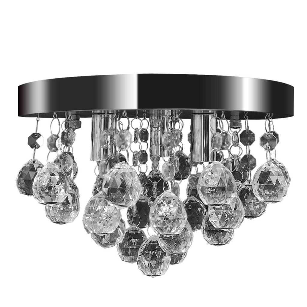 vidaXL Mennyezeti függő lámpa kristály csillár króm