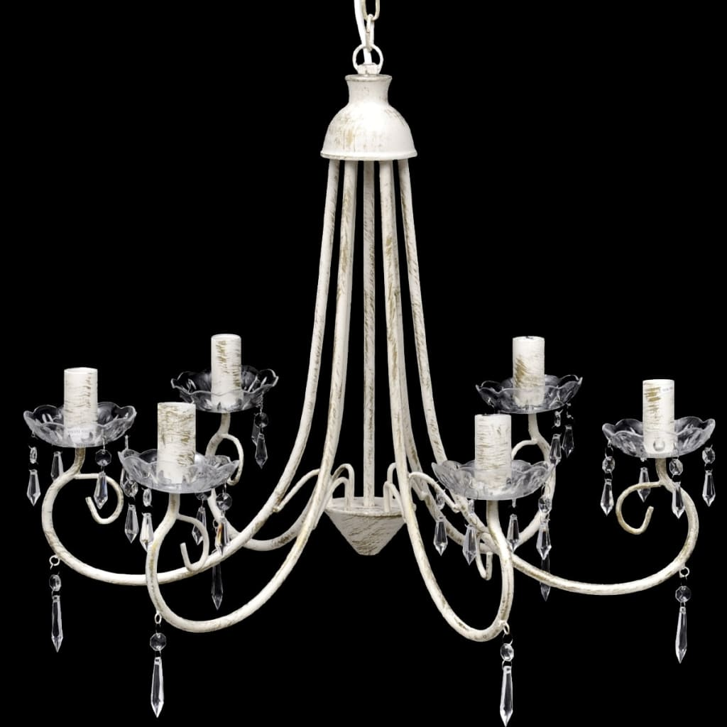 vidaXL-Lampada-da-Soffitto-Bianca-Pendente-Cristallo-Elegante-Luce-Lampadario