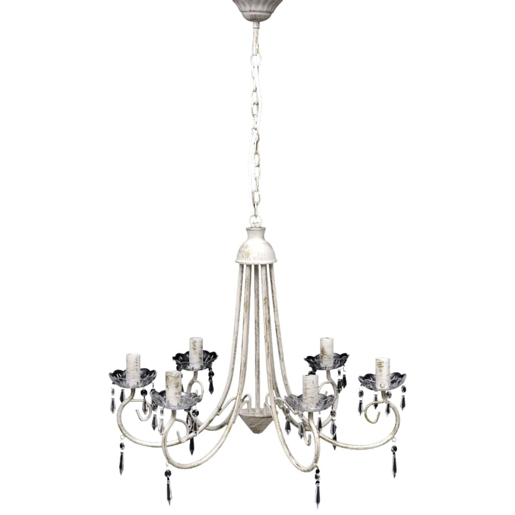 Pendant Ceiling Lamp Elegant Chandelier White 6 Bulb