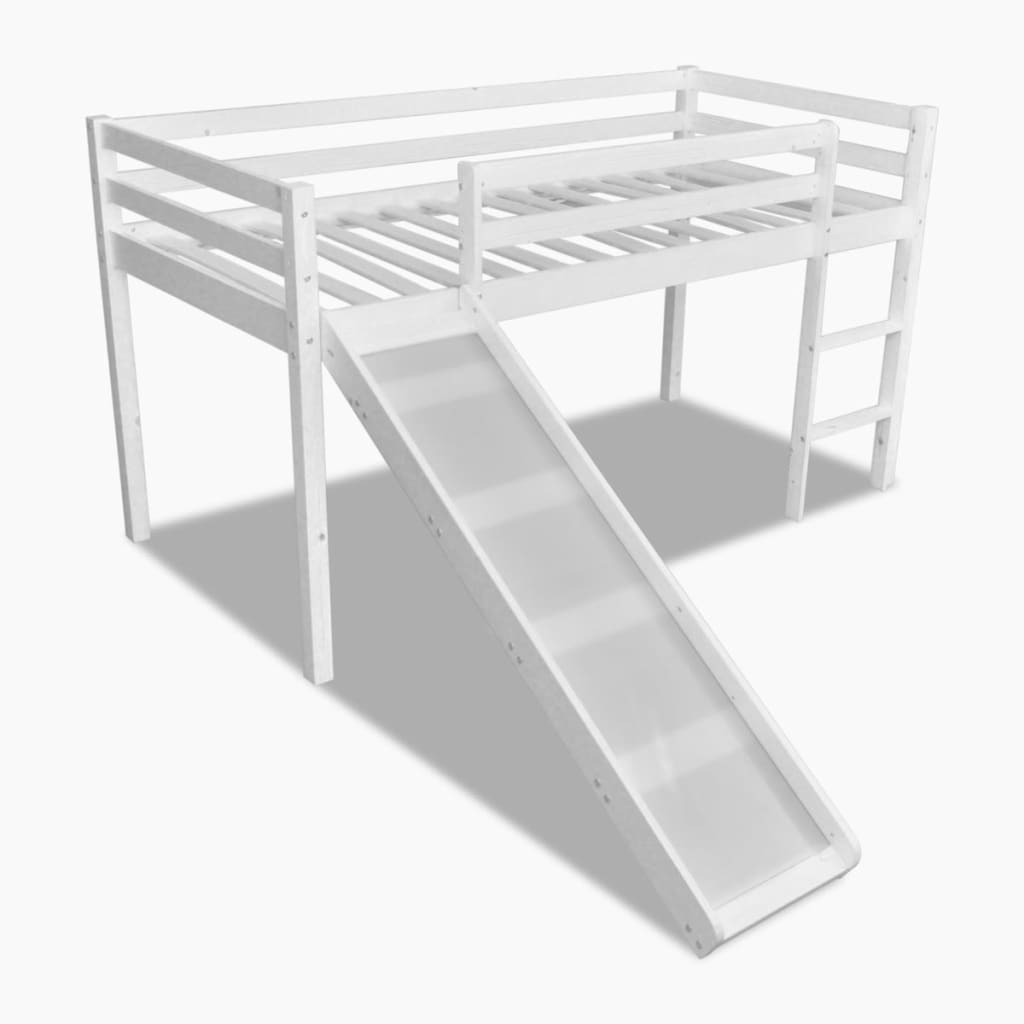 lit mezzanine avec chelle toboggan en bois 198x97x110cm blanc naturel au choix ebay. Black Bedroom Furniture Sets. Home Design Ideas