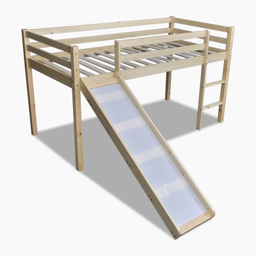 Children Loft Bed With Slide Ladder Natural Colour