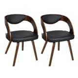 Conjunto de 2 cadeiras estrutura de madeira, castanho