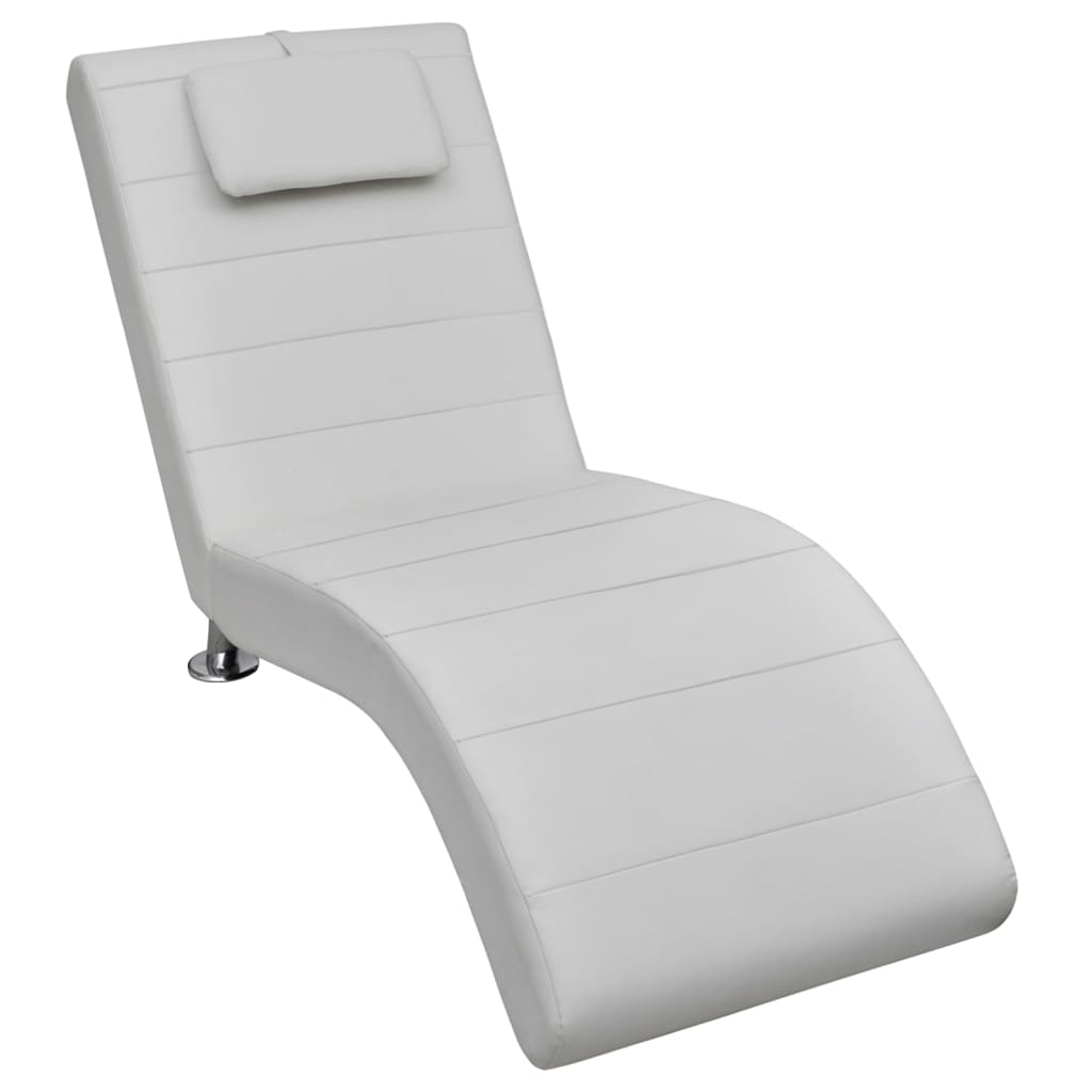 New chaise lounge black white 2 legs with cushion rest for Black and white chaise lounge cushions