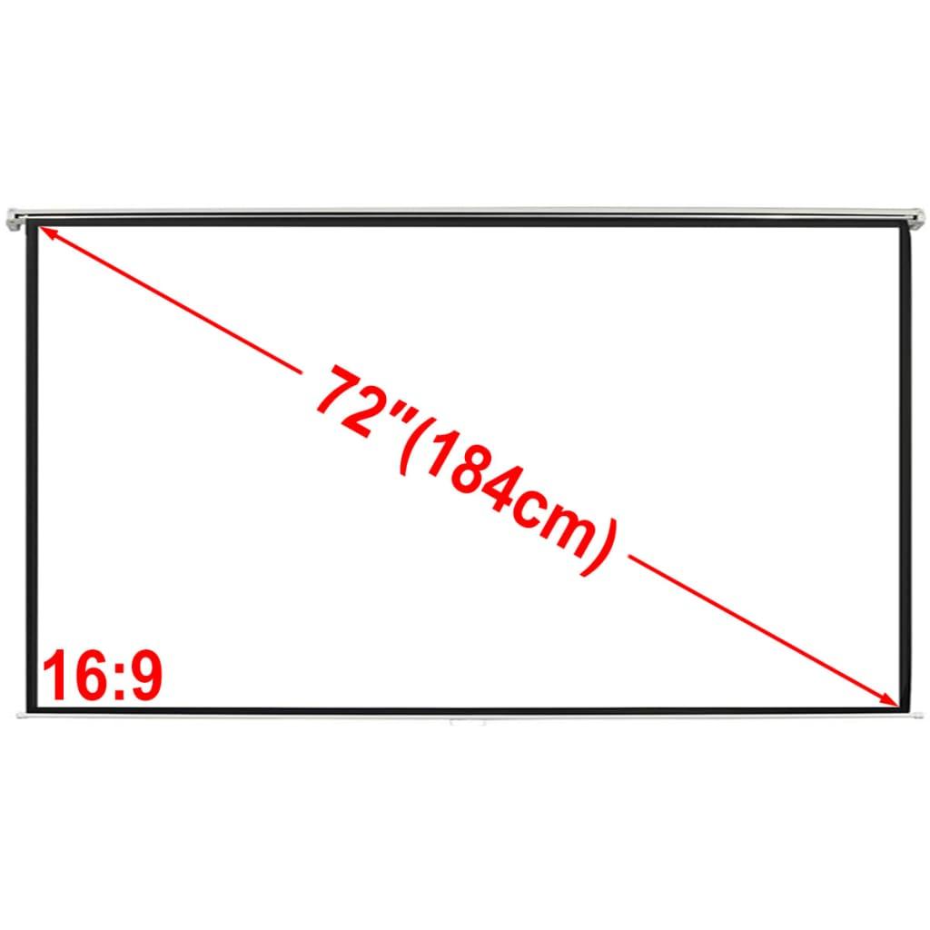 vidaXL Kézi vetítővászon 160 x90cm Mat Fehér 16: 9 Fal mennyezetre szerelhető