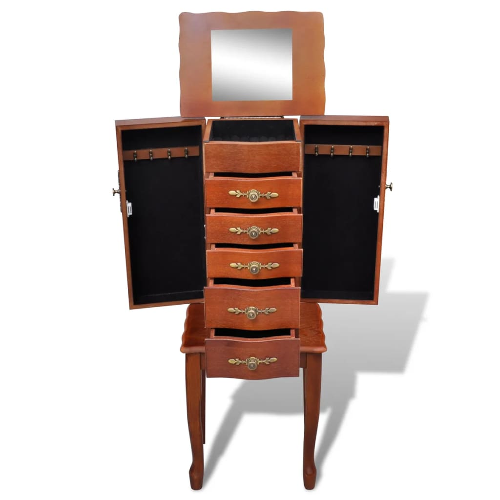 der schmuckkasten kommode 5 schubladen 2 t ren mit spiegel online shop. Black Bedroom Furniture Sets. Home Design Ideas